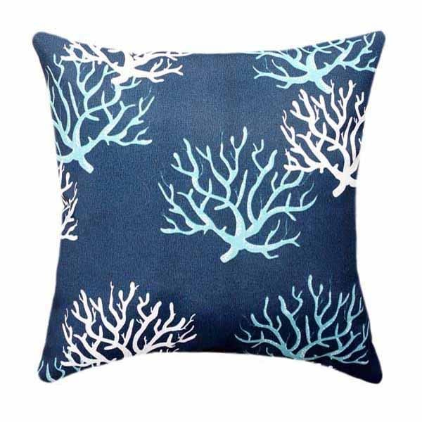 Isadella Oxford Navy Blue Outdoor Coral Throw Pillow - Land of Pillows