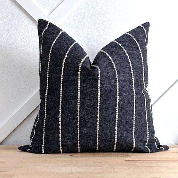 Ivory Woven Stripe on Textured Washed Black Pillow - Land of Pillows