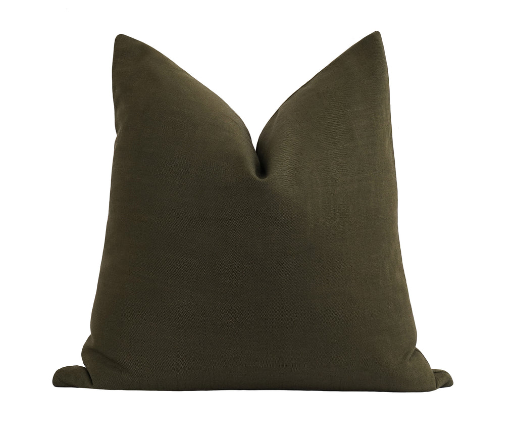 Peat Moss Green Linen Pillow