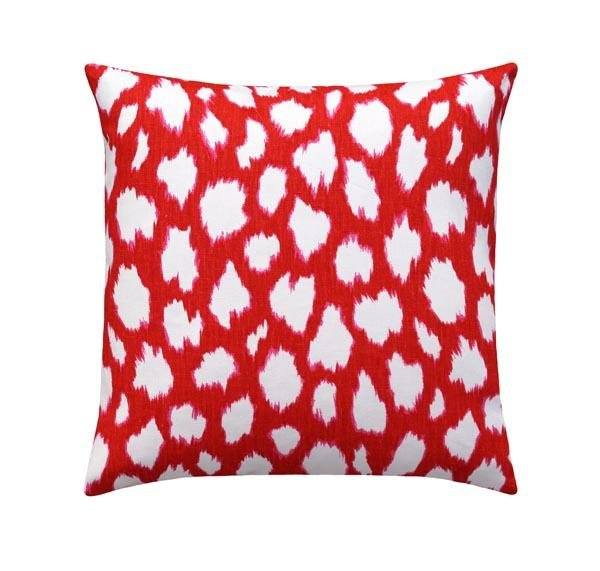 Kate Spade Leokat Maraschino Cherry Red Ikat Pillow - Land of Pillows