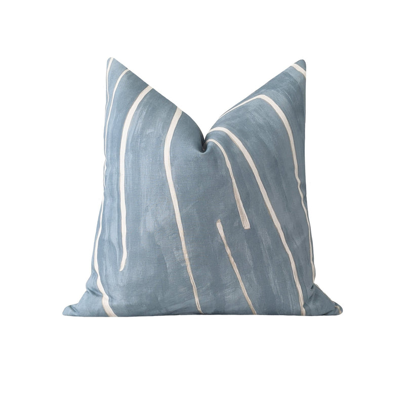 Kelly Wearstler Graffito Deep Sky Blue Abstract Pillow - Land of Pillows