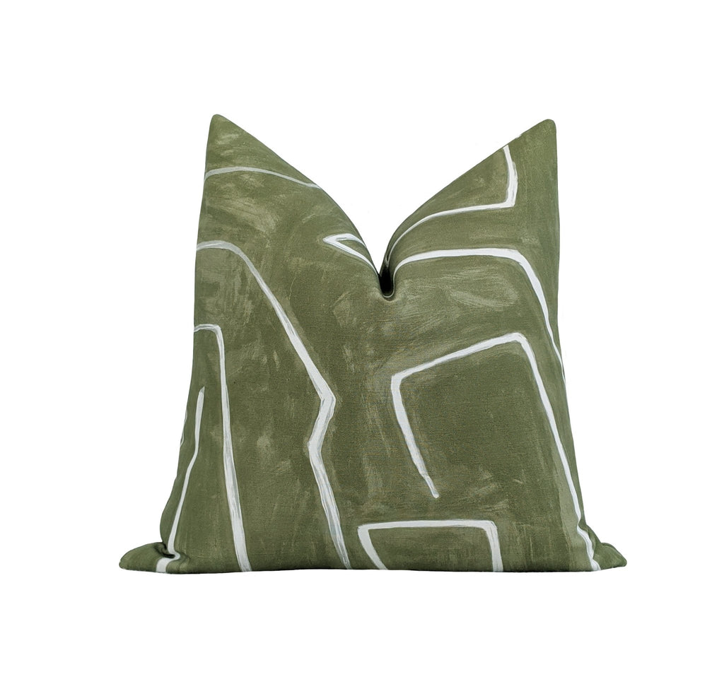 Kelly Wearstler Graffito Fern Green Abstract Pillow - Land of Pillows