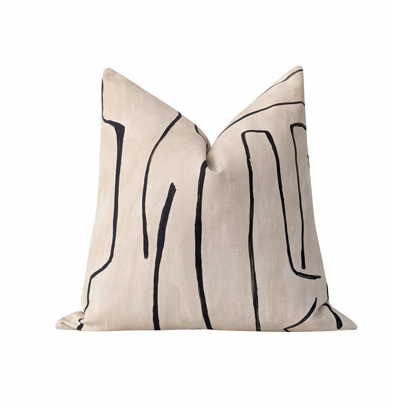 Kelly Wearstler Graffito Linen Onyx Black Abstract Pillow - Land of Pillows