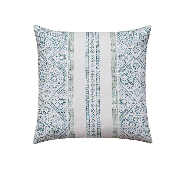 La Jolla Seaglass Green & Blue Bohemian Stripe Pillow