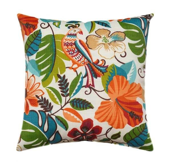 Lensing Jungle Outdoor Tropical Leaf Floral Bird Pillow - Land of Pillows
