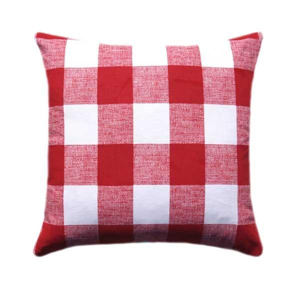 Lipstick Red Check Plaid Pillow - Land of Pillows