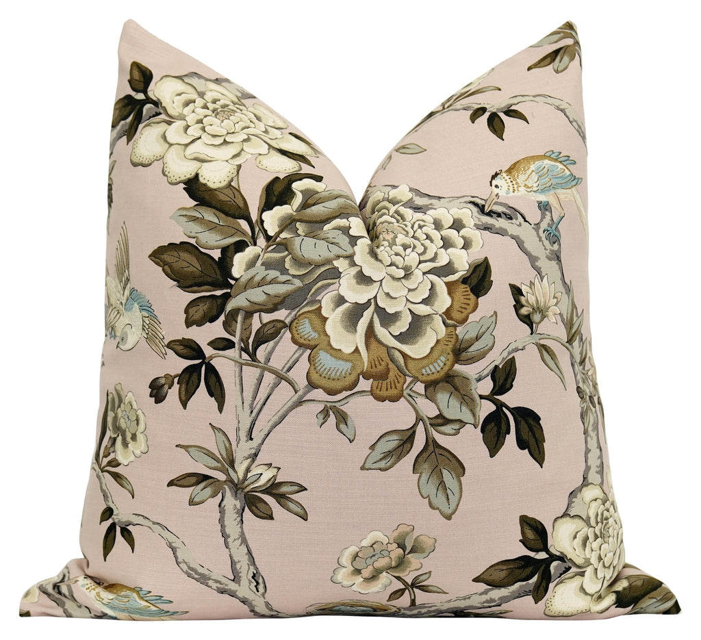 Madison Blush Floral Bird Toile Pillow - Land of Pillows