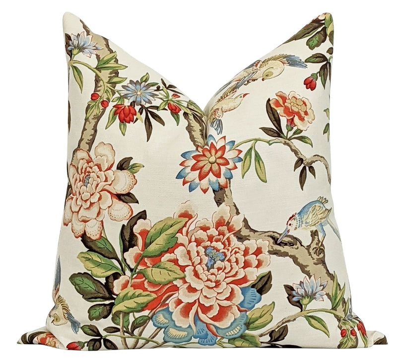 Madison Persimmon Floral Bird Toile Pillow - Land of Pillows