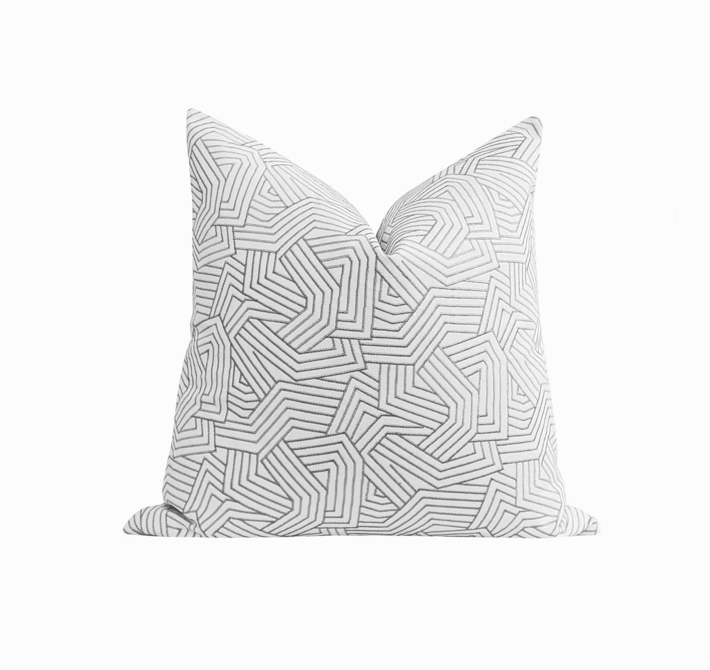 Marble Grey Deconstructed Embroidered Abstract Stripe Pillow - Land of Pillows