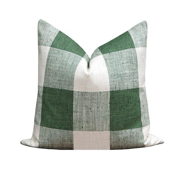 Modern Farmhouse Green Buffalo Check Plaid Pillow - Land of Pillows