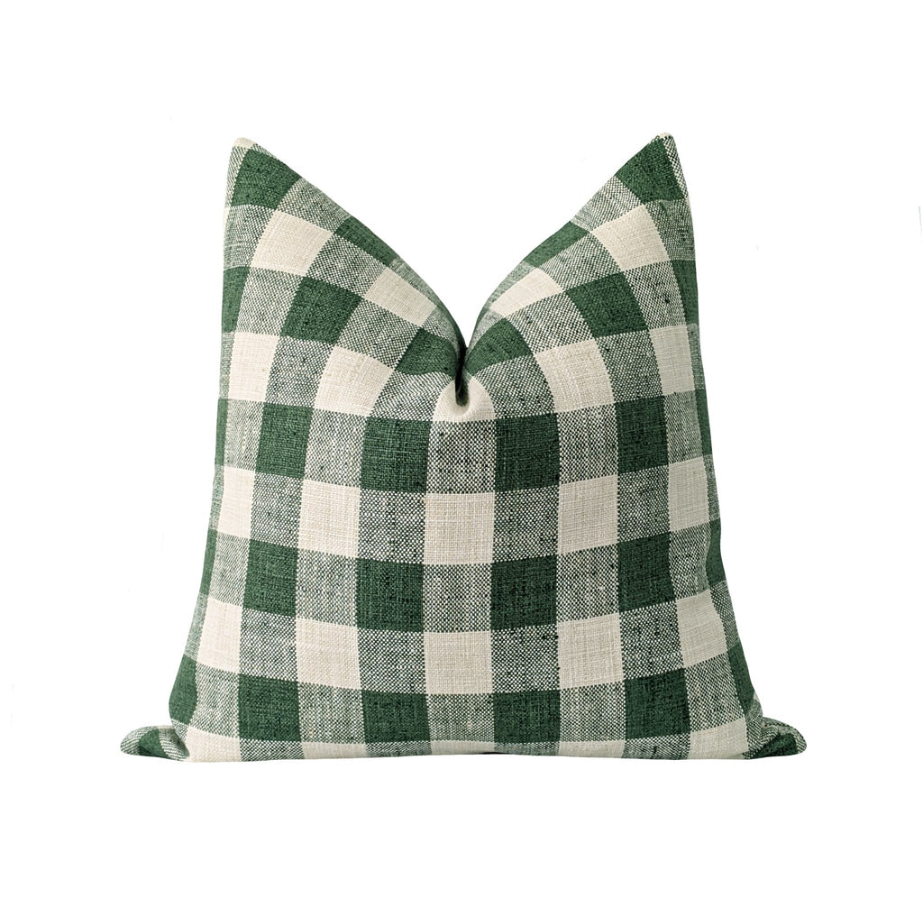 Modern Farmhouse Green Checkerboard Plaid Pillow - Land of Pillows