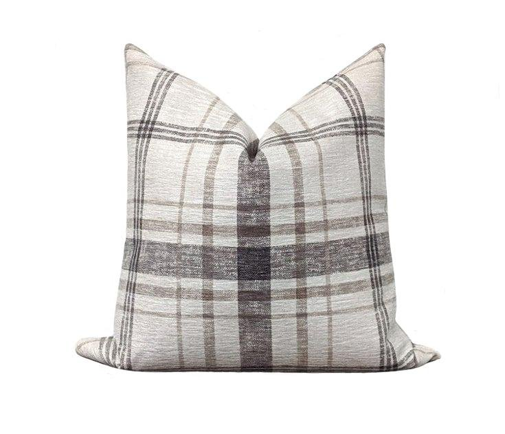 Moonstone Black Grey Cream Tan Chenille Plaid Pillow - Land of Pillows