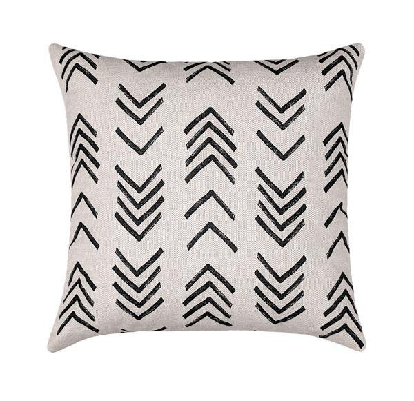 Mudcloth Print Black Flax Tribal Pillow - Land of Pillows