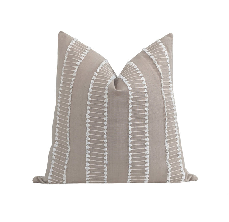Natural Beige Tan Fringe Tassel Pillow - Land of Pillows