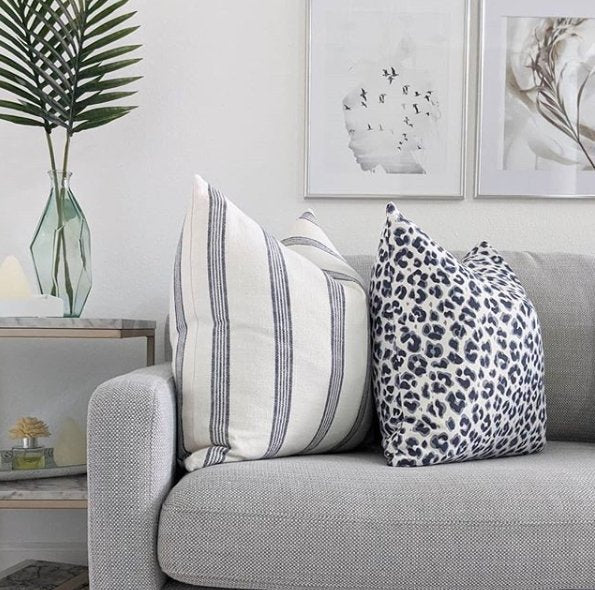 Navy Blue and White Linen Leopard Print Pillow - Land of Pillows
