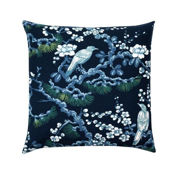 Navy Blue Bird Toile Linen Pillow - Land of Pillows