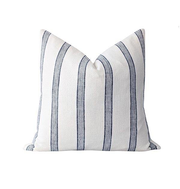 Navy Blue French Country Stripe Linen Pillow - Land of Pillows