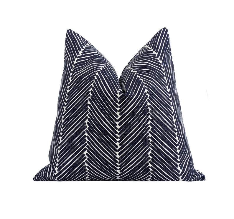 Navy Blue Herringbone Pillow - Land of Pillows
