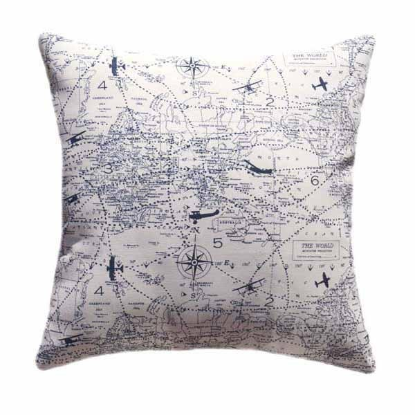 Sail Away Vintage Navy Blue Nautical Map Sailboat Pillow
