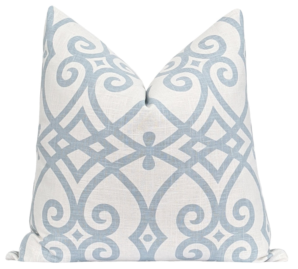 Ness Ice Blue Lattice Pillow - Land of Pillows