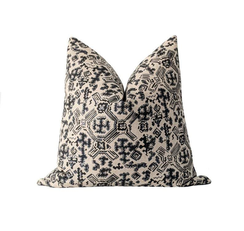 Nomad Granite Metallic Silver & Black Geometric Pillow - Land of Pillows
