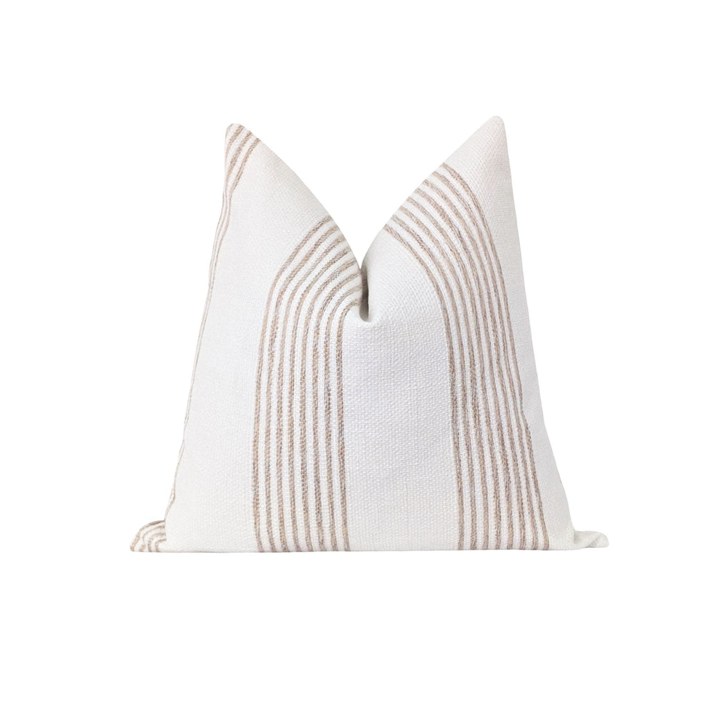 Norfolk Fawn Beige Stripe Pillow - Land of Pillows