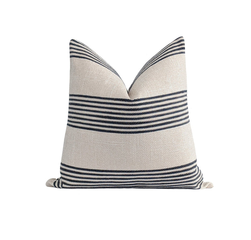 Norfolk Washed Black Stripe Pillow - Land of Pillows