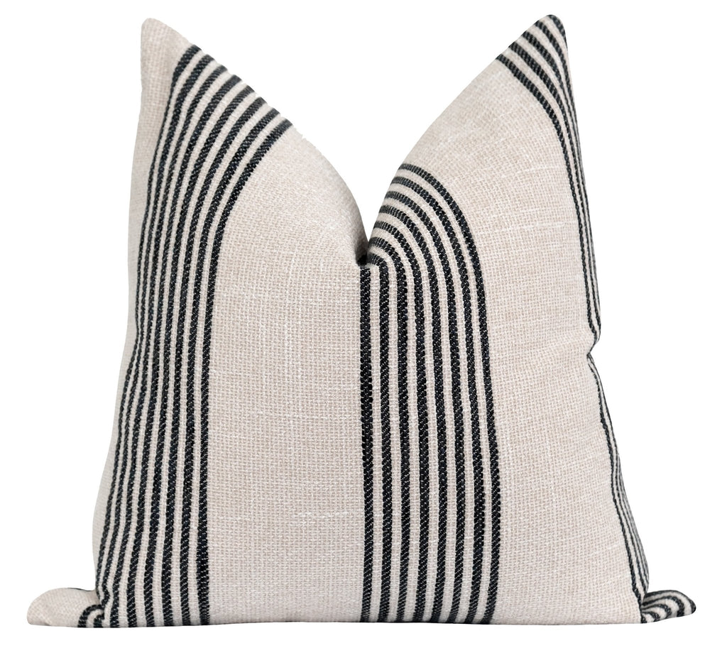 Norfolk Washed Black Woven Stripe Pillow - Land of Pillows