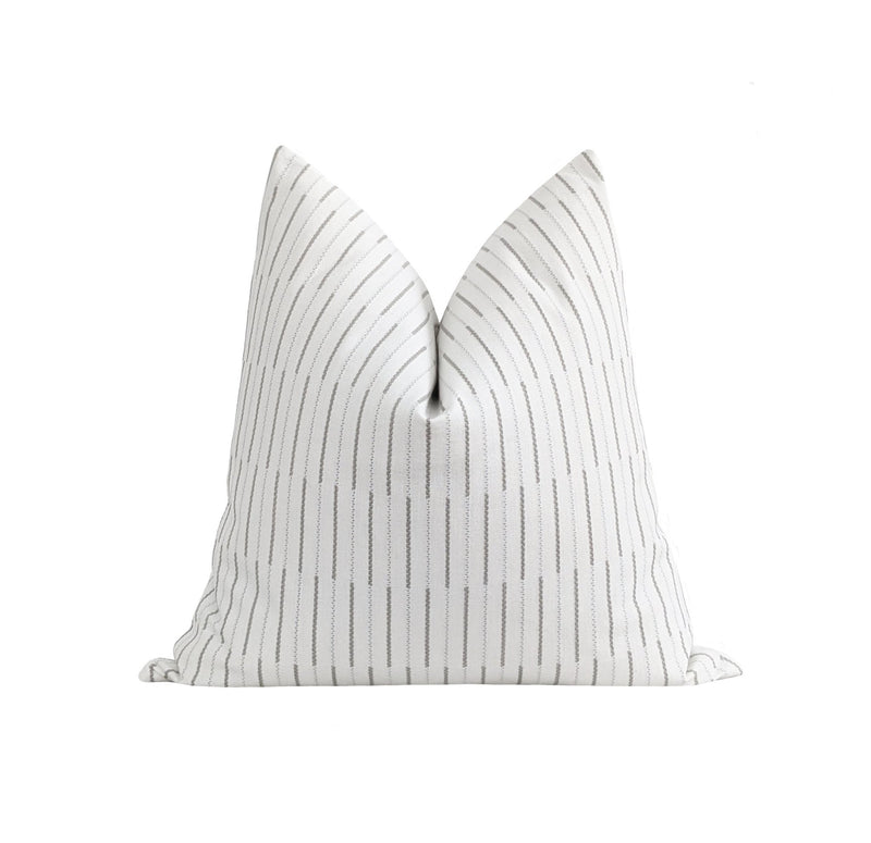Off White & Ash Grey Embroidered Stripe Pillow - Land of Pillows