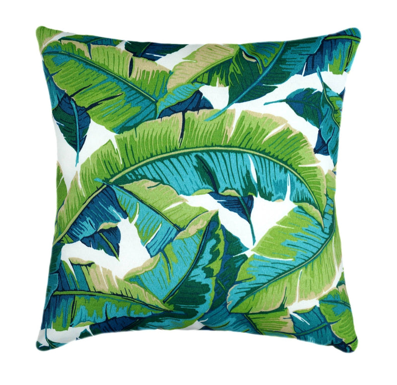 Swaying Palm Aloe Green Outdoor Green Leaf Pillow