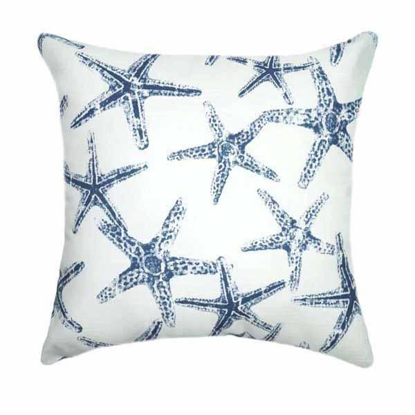 Oxford Navy Blue Starfish Outdoor Pillow Cover - Land of Pillows