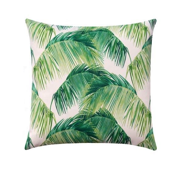 Palmas Verde Green Outdoor Palm Leaf Pillow - Land of Pillows