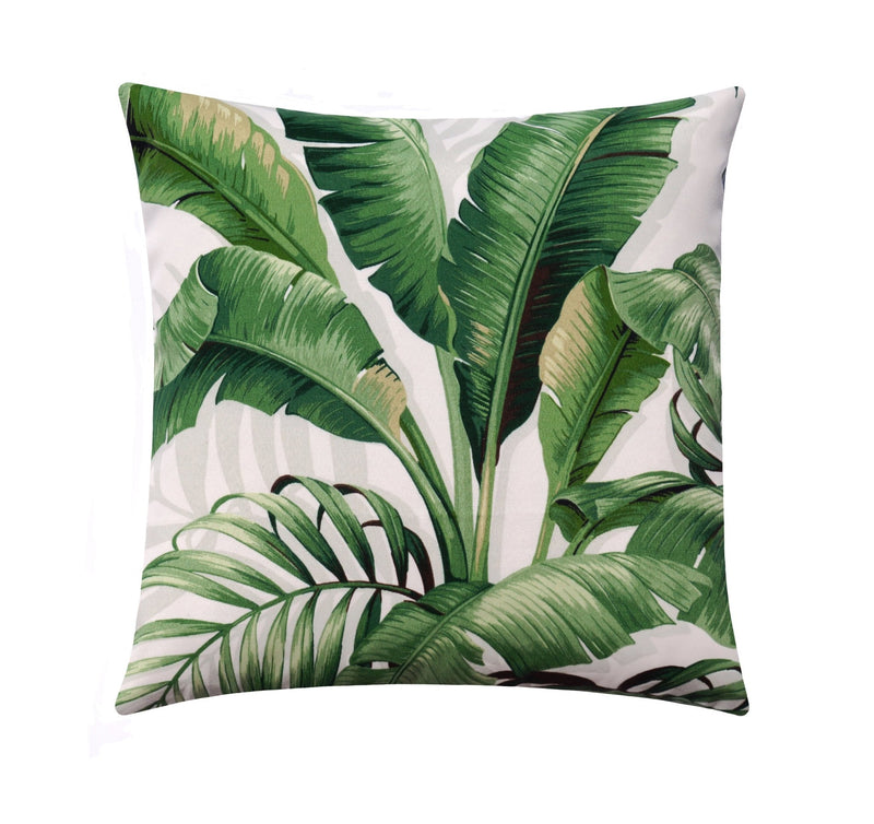 Palmiers Verde Green Outdoor Palm Leaf Pillow - Land of Pillows