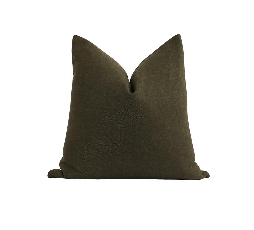 Peat Moss Green Linen Pillow - Land of Pillows