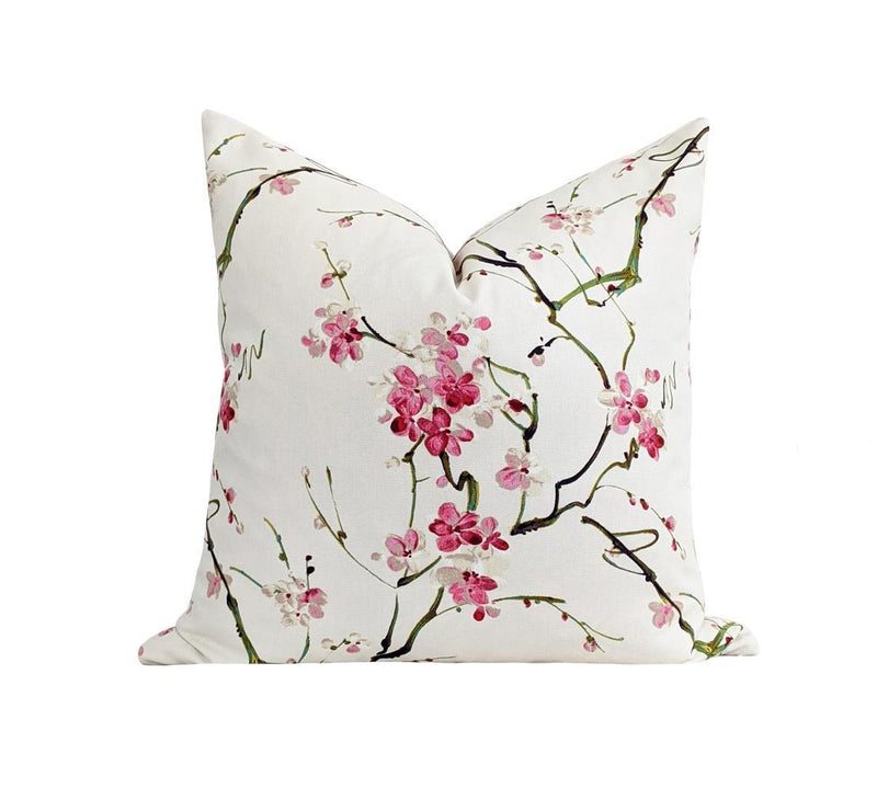 Pink Cherry Blossom Floral Pillow - Land of Pillows