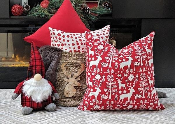Promise Land Lipstick Red Holiday Reindeer Pillow - Land of Pillows