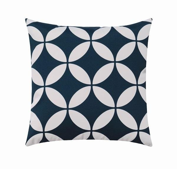 Radiant Oxford Navy Blue and White Modern Geometric Outdoor Pillow - Land of Pillows