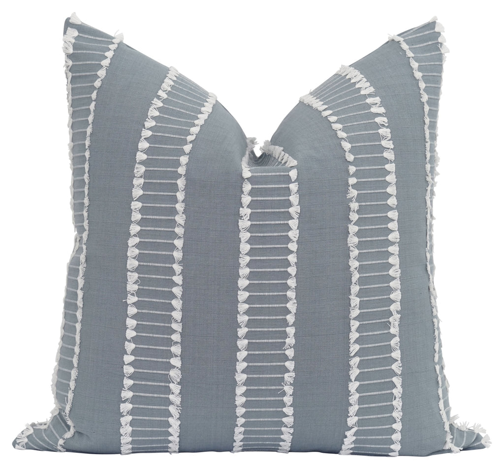 Rain Embroidered Fringe Tassel Pillow - Land of Pillows
