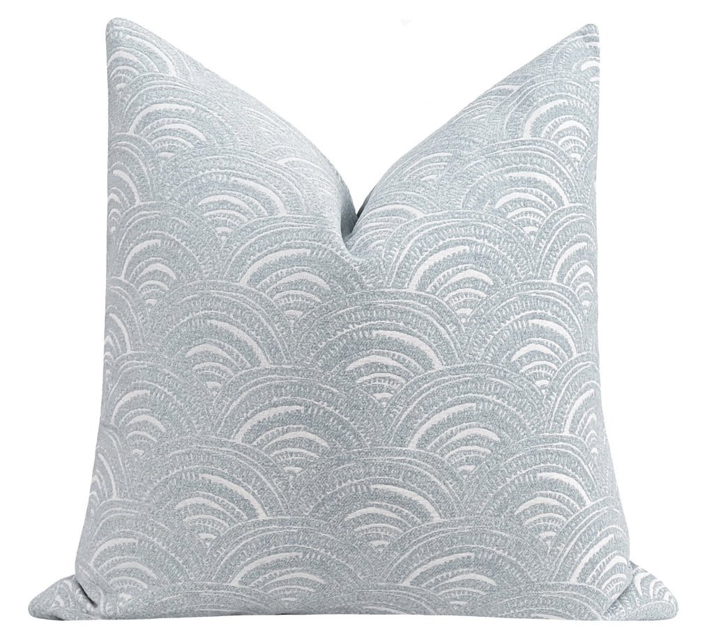 Rain Grey Blue Arches Chenille Pillow - Land of Pillows