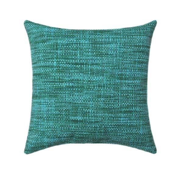 Turquoise Blue and Gold Contemporary Squares Pillow