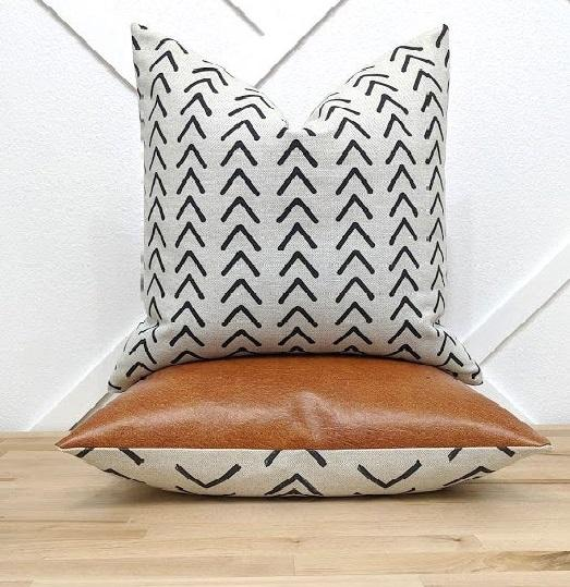 Shadow Black Tribal Herringbone Outdoor Pillow