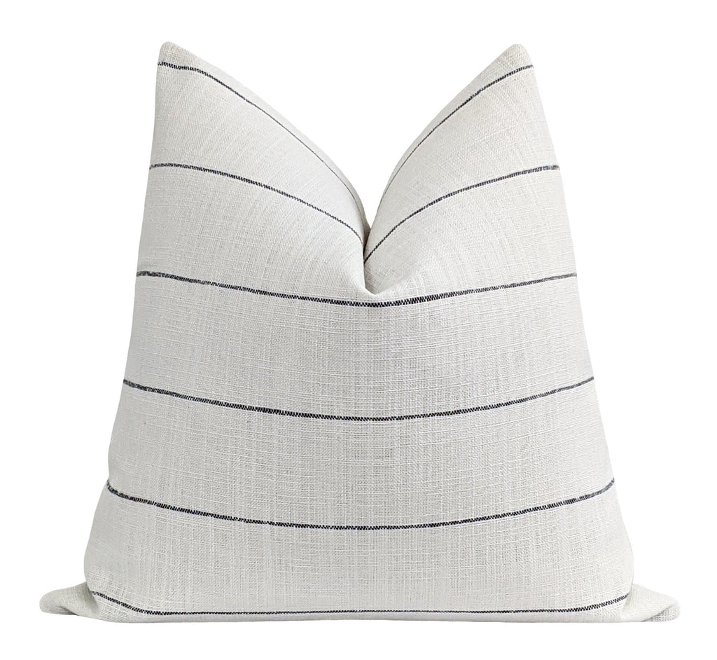 Rockville Woven Black & White Farmhouse Stripe Pillow - Land of Pillows