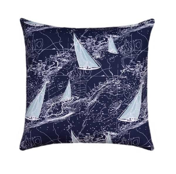 Sail Away Vintage Navy Blue Nautical Map Sailboat Pillow - Land of Pillows