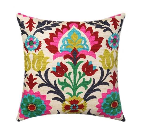 Farrah Slub Canvas Blush Pink Floral Pillow