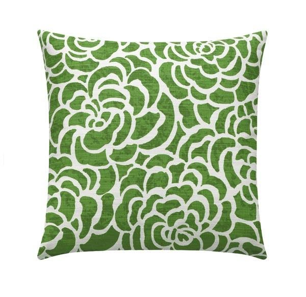 Scott Living Peony Bonsai Green Linen Floral Pillow - Land of Pillows
