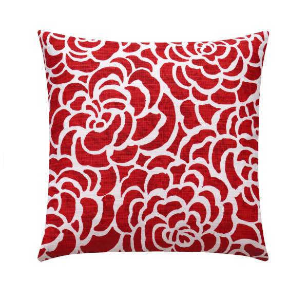 Scott Living Peony Vermilion Red Floral Pillow - Land of Pillows