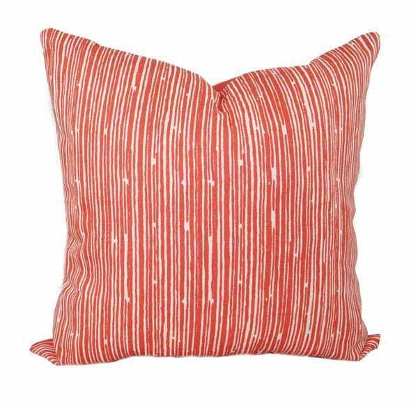 Scribble Coral Stripe Pillow - Land of Pillows