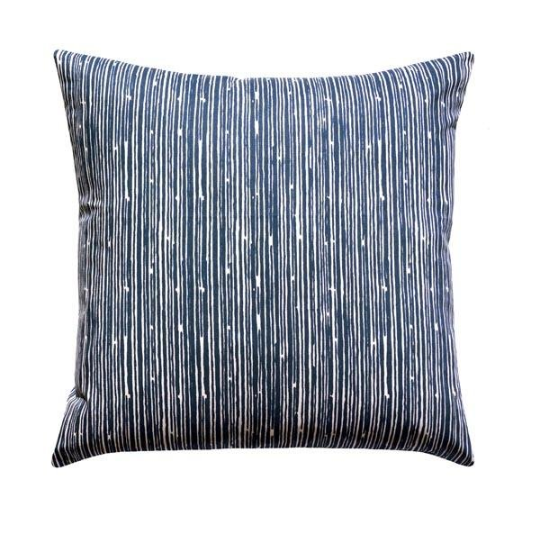 Scribble Navy Ikat Stripe Pillow - Land of Pillows
