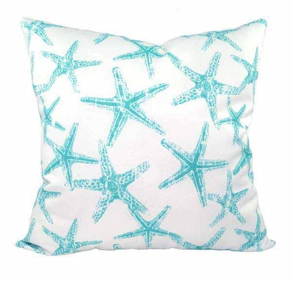 Sea Friends Ocean Aqua Blue Starfish Outdoor Pillow Cover - Land of Pillows