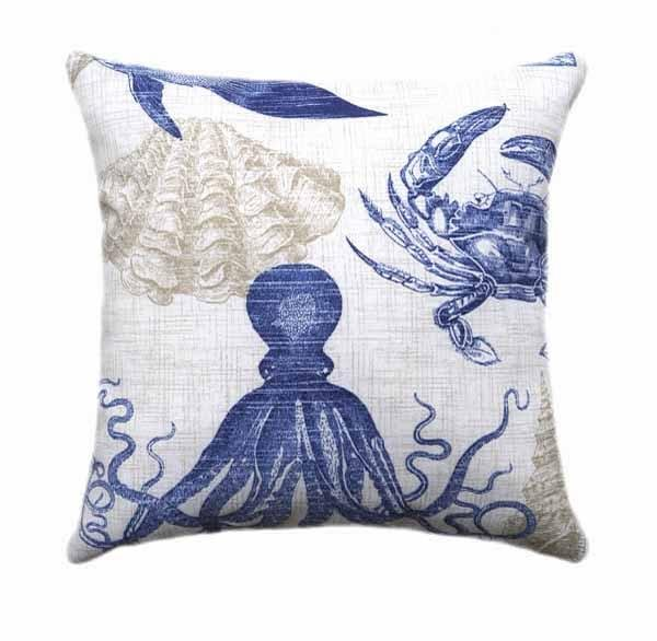 Sea Life Marine Blue Outdoor Fish Pillow - Land of Pillows